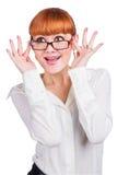 Bella foto di una signora di affari in occhiali Fotografia Stock Libera da Diritti