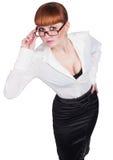 Bella foto di una signora di affari in occhiali Fotografia Stock