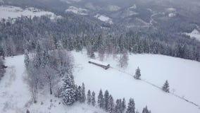 Bella gamma di montagne nell'inverno nevoso archivi video
