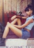 Bella giovane donna afroamericana Fotografia Stock Libera da Diritti