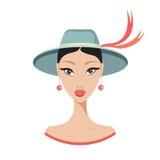 Bella giovane donna asiatica in ritratto alla moda del modello di moda del cappello Fotografia Stock Libera da Diritti