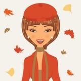 Bella giovane donna in autunno Fotografia Stock