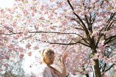 Bella giovane donna bionda nel parco di Sakura Cherry Blossom in primavera che gode della natura e del tempo libero durante lei c fotografia stock libera da diritti