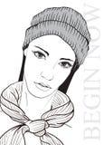 Bella giovane donna in cappello e sciarpa Abbozzo di modo Trucco di Face Modello di modo disegnato a mano Fronte della donna illustrazione vettoriale
