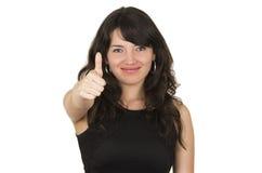 Bella giovane donna castana con la cima nera Fotografie Stock Libere da Diritti
