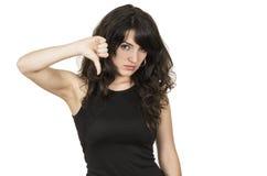 Bella giovane donna castana con la cima nera Fotografia Stock