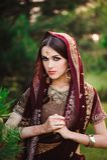 Bella giovane donna caucasica in sari indiani tradizionali dell'abbigliamento con il tatuaggio nuziale di trucco e dei gioielli e fotografia stock