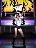 Bella giovane donna che balla in scena Immagini Stock