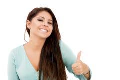 Bella giovane donna che mostra segno giusto Fotografia Stock