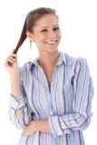 Bella giovane donna che sorride felicemente Fotografie Stock