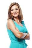 Bella giovane donna che sorride sul fondo bianco fotografie stock libere da diritti