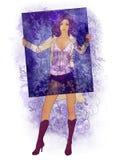 Bella giovane donna che tiene un blocco per grafici modellato Illustrazione di Stock