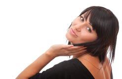 Bella giovane donna che trasmette un bacio Fotografie Stock
