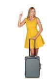 Bella giovane donna che va per il viaggio. Immagine Stock