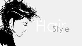 Bella giovane donna con capelli neri Abbozzo di modo Trucco di Face Modello di modo disegnato a mano Fronte della donna royalty illustrazione gratis