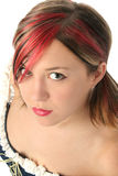 Bella giovane donna con i punti culminanti rossi Fotografie Stock Libere da Diritti