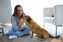 Bella giovane donna con il cane che gioca a casa Fotografia Stock