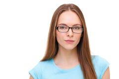 Bella giovane donna con il ritratto di vetro isolato su bianco Fotografia Stock Libera da Diritti