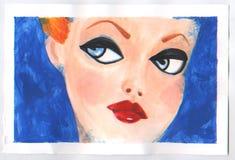 Bella giovane donna con la pittura alla moda dell'acquerello di trucco Fotografia Stock