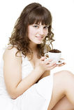 Bella giovane donna con la tazza Immagine Stock