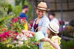 Bella giovane donna con sua figlia che innaffia le piante nella t Fotografia Stock