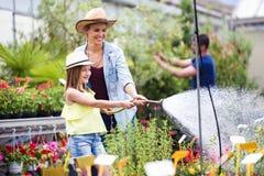 Bella giovane donna con sua figlia che innaffia le piante con un tubo flessibile nella serra Fotografia Stock