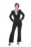 Bella giovane donna curvy di affari in vestito nero Fotografia Stock Libera da Diritti
