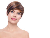 Bella giovane donna della stazione termale con i capelli di scarsità fotografie stock