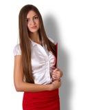 Bella giovane donna di affari castana sorridente con capelli lunghi Immagini Stock Libere da Diritti