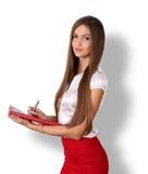 Bella giovane donna di affari castana sorridente con capelli lunghi Fotografia Stock Libera da Diritti
