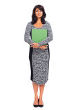 Bella giovane donna di affari con il dispositivo di piegatura Fotografie Stock Libere da Diritti