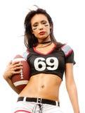 Bella giovane donna di gioco del calcio Immagine Stock Libera da Diritti
