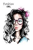 Bella giovane donna disegnata a mano con capelli lunghi Ragazza elegante alla moda con l'arco in capelli Ritratto della donna di  illustrazione di stock