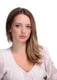 Bella giovane donna isolata su bianco fotografia stock
