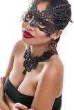 Bella giovane donna nella maschera veneziana di carnevale Immagine Stock Libera da Diritti