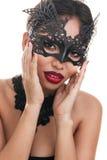 Bella giovane donna nella maschera veneziana di carnevale Fotografie Stock