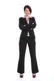 Bella giovane donna sorridente di affari in vestito Immagini Stock