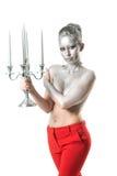 Bella giovane donna topless con l'acconciatura di sera e parte del corpo superiore e capelli dipinti con colore d'argento che por Fotografia Stock Libera da Diritti