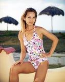 Bella giovane donna in vestito da estate Fotografia Stock Libera da Diritti