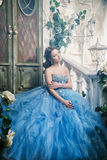 Bella giovane donna in vestito lungo blu splendido come Cenerentola con stile perfetto di capelli e di trucco Immagine Stock Libera da Diritti
