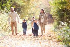Bella giovane famiglia su una passeggiata nella foresta di autunno Fotografia Stock Libera da Diritti