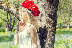 Bella giovane giovane donna bionda elegante delicata con la peonia rossa in una corona della blusa bianca che cammina nel meleto  Immagini Stock Libere da Diritti