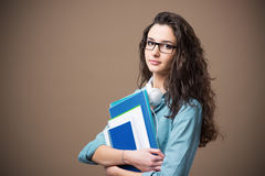 Bella giovane posa dello studente Fotografia Stock