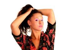 Bella giovane ragazza adulta che tiene i loro capelli Fotografia Stock Libera da Diritti