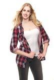 Bella giovane ragazza bionda che sorride nello studio Fotografia Stock
