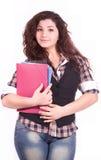 Bella giovane ragazza dell'allievo con il taccuino Fotografia Stock Libera da Diritti