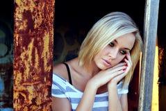 Bella giovane ragazza triste Fotografie Stock