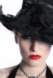 Bella giovane signora con il cappello Fotografia Stock