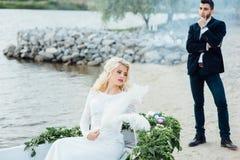 Bella giovane sposa in vestito da sposa di lusso Fotografia Stock Libera da Diritti