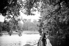 Bella giovani coppie, sposa e sposo di nozze posanti sul fondo del lago Immagine Stock Libera da Diritti